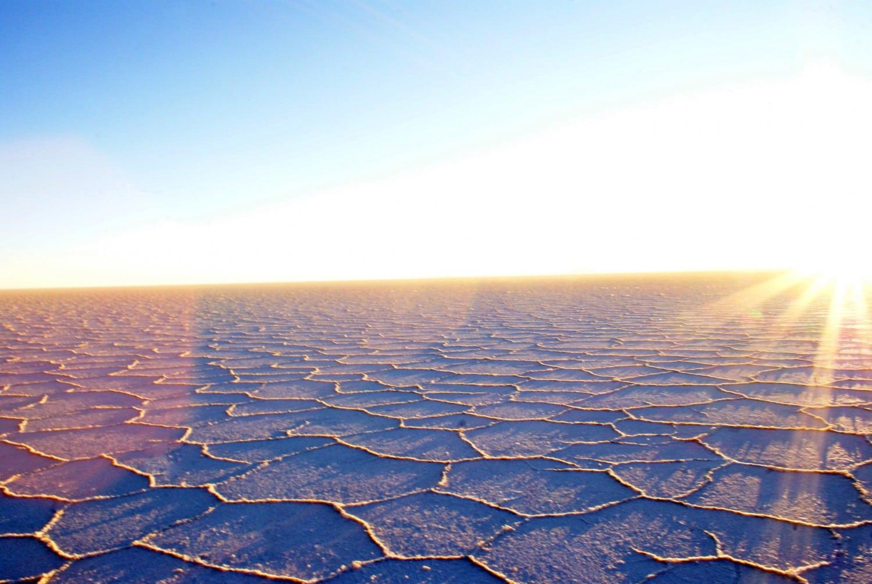 Watching the sun rise over the Bolivian Salt Flats