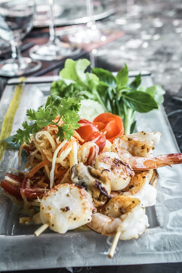 Grilled Thai Prawns and Som Tam Talay