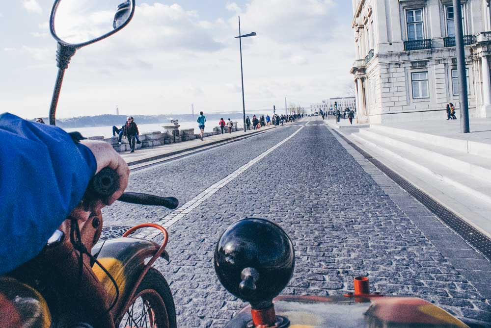 Taking a sidecar tour of Lisbon