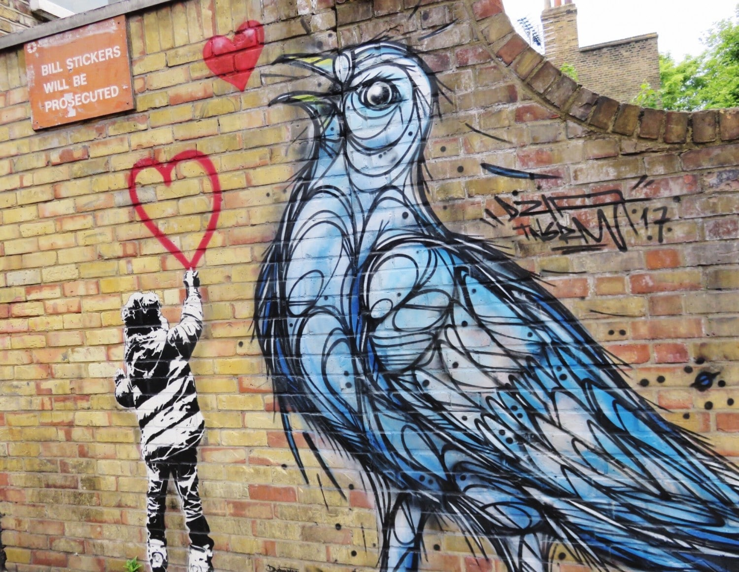 Dotmaster Rude Kid with Spray Paint and DZIA Bird Camden Street Art