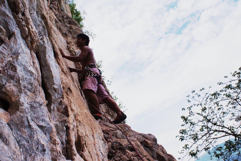 Climbing a karst Vang Vieng Laos
