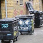 Street art bin in London