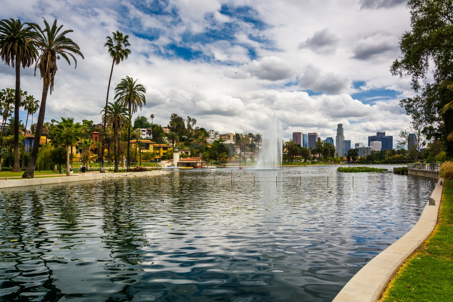 Echo Park Lake is One of the Coolest Places to Spend Time in LA. Click to Check out Our Travel Guide to Cool LA.