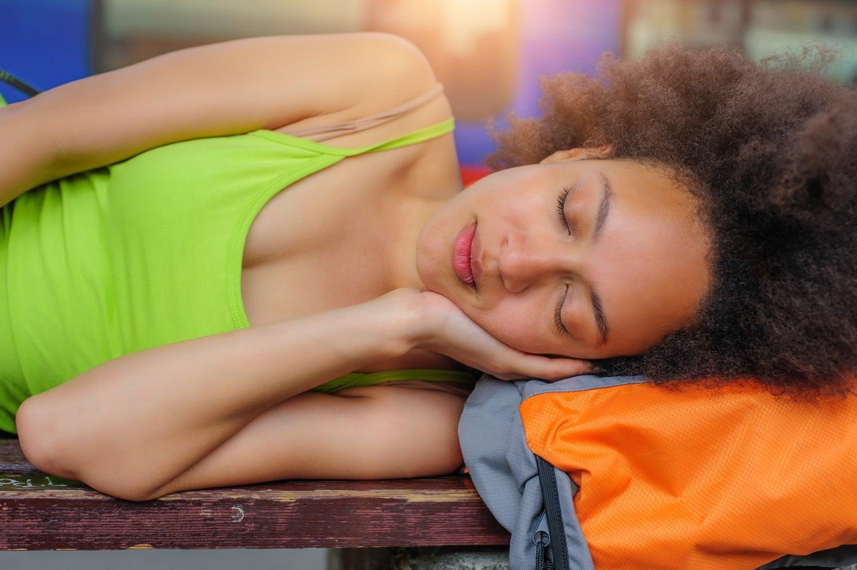 Sleeping at a festival.