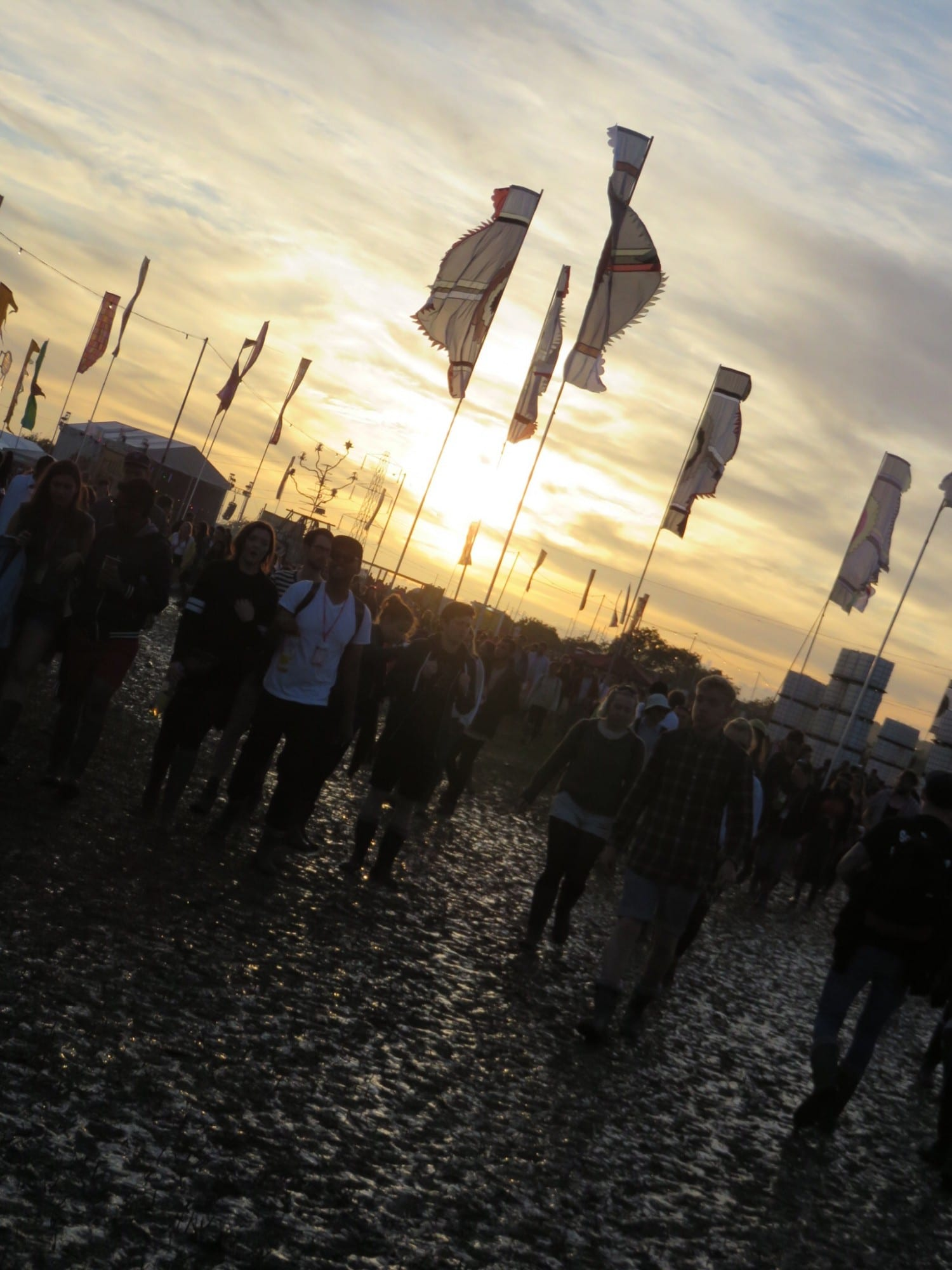 Sun shining at Glastonbury right after the rain. You have to pack for every kind of weather!