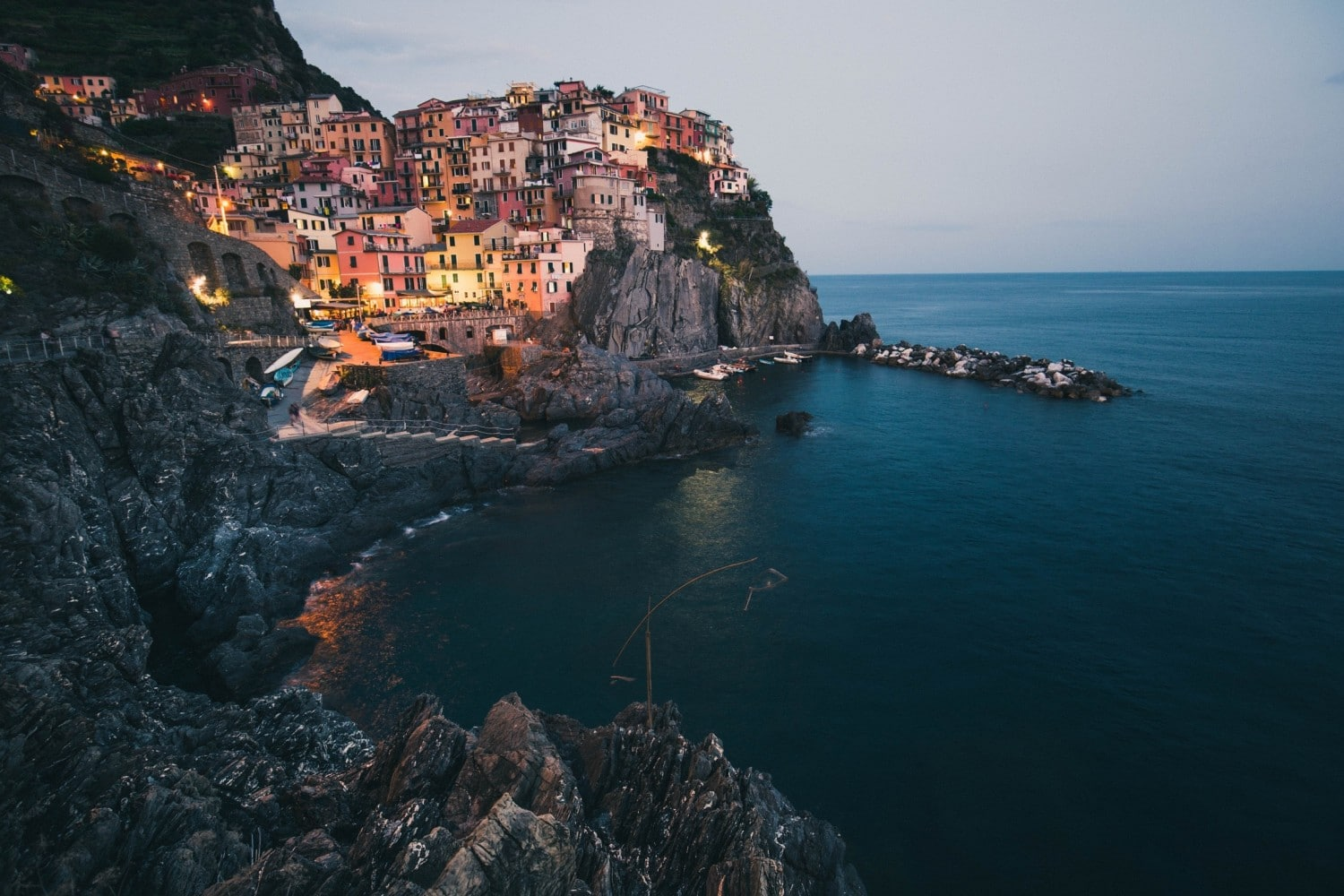Hiking the blue trail along the Cinque Terre in Italy. One of Europe's best hikes.