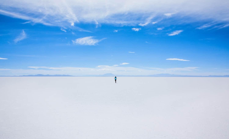 Solo person on the Salar de Uyuni