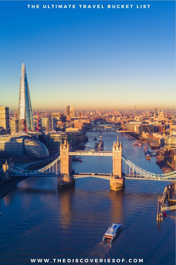 London, UK. 100 unique travel bucket list ideas - the ultimate list of things to do and places to see in your lifetime. Read the full guide now. See the world, embrace adventure, satisfy your wanderlust. United States I England I Australia I Canada I Travel Inspiration I Photos I Dreams I Ideas #travel #bucketlist #travelinspiration #wanderlust