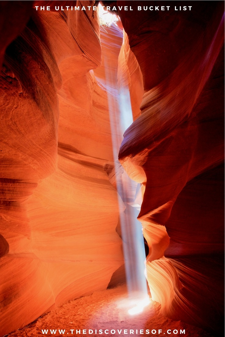 Antelope Canyon, Arizona, USA. 100 unique travel bucket list ideas - the ultimate list of things to do and places to see in your lifetime. Read the full guide now. See the world, embrace adventure, satisfy your wanderlust. United States I England I Australia I Canada I Travel Inspiration I Photos I Dreams I Ideas #travel #bucketlist #travelinspiration #wanderlust
