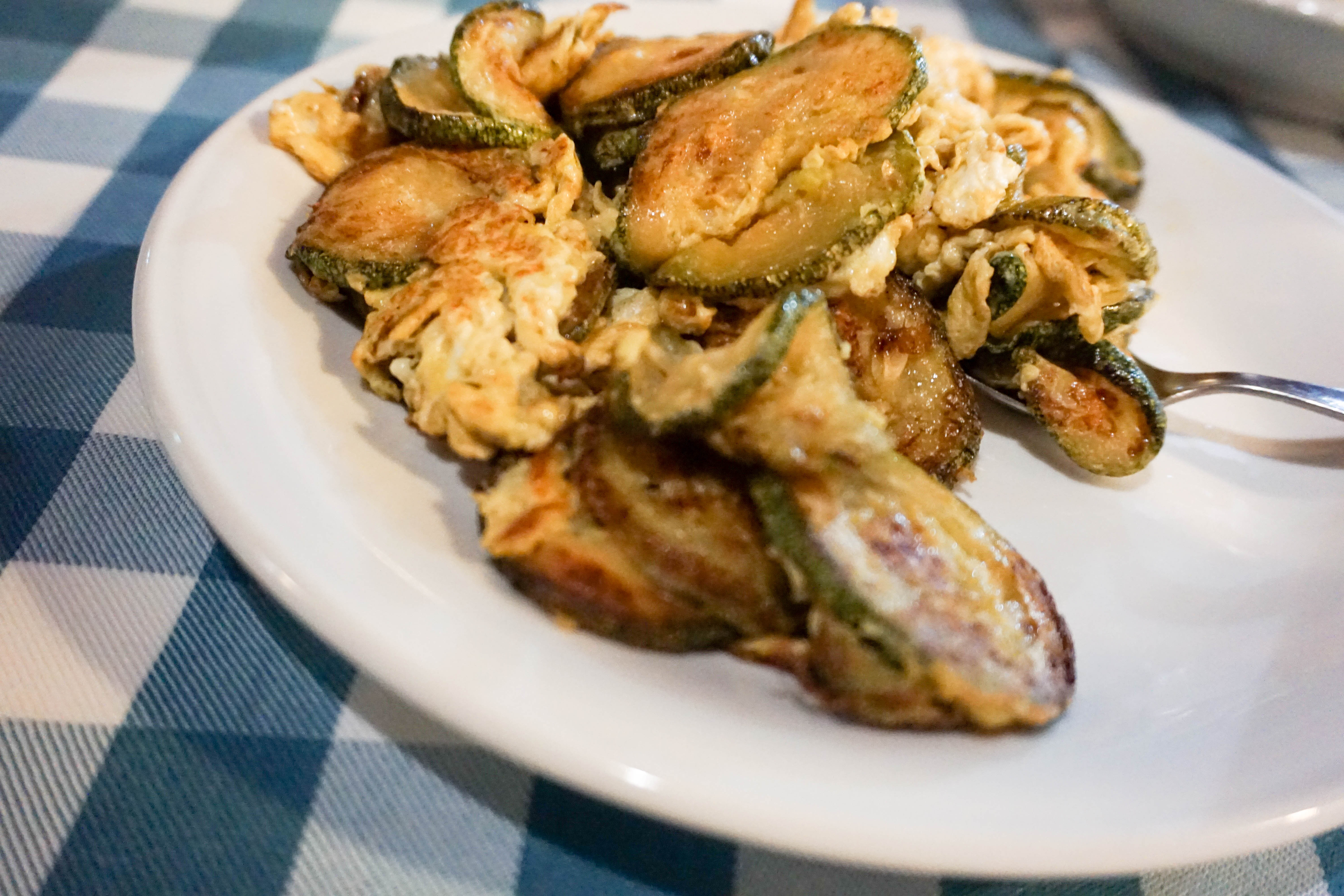 Courgettes with eggs is a typical food in Cyprus