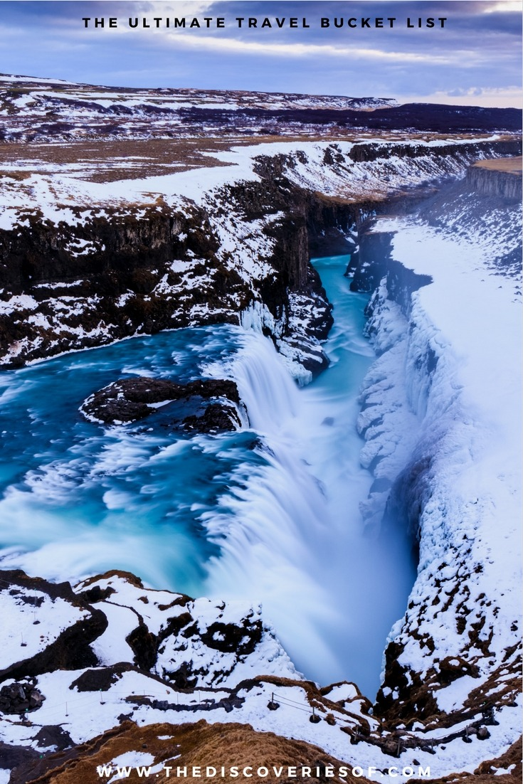 Gullfoss Waterfalls, Iceland. 100 unique travel bucket list ideas - the ultimate list of things to do and places to see in your lifetime. Read the full guide now. See the world, embrace adventure, satisfy your wanderlust. United States I England I Australia I Canada I Travel Inspiration I Photos I Dreams I Ideas #travel #bucketlist #travelinspiration #wanderlust