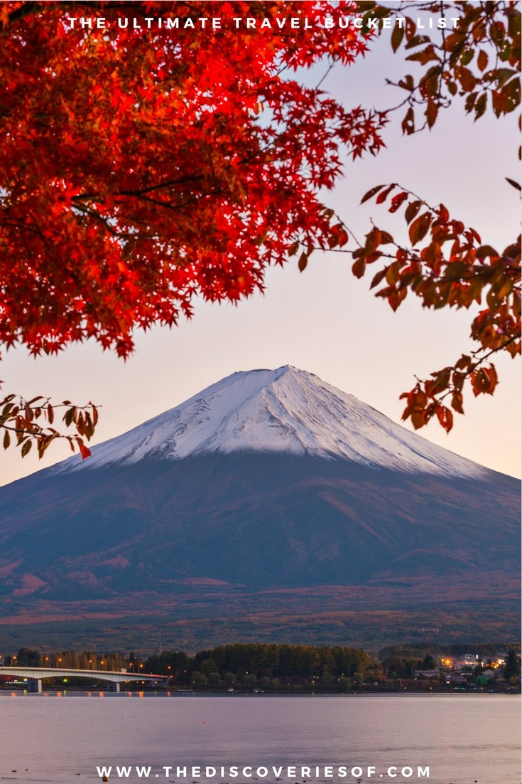 Mount Fuji, Japan. 100 unique travel bucket list ideas - the ultimate list of things to do and places to see in your lifetime. Read the full guide now. See the world, embrace adventure, satisfy your wanderlust. United States I England I Australia I Canada I Travel Inspiration I Photos I Dreams I Ideas #travel #bucketlist #travelinspiration #wanderlust