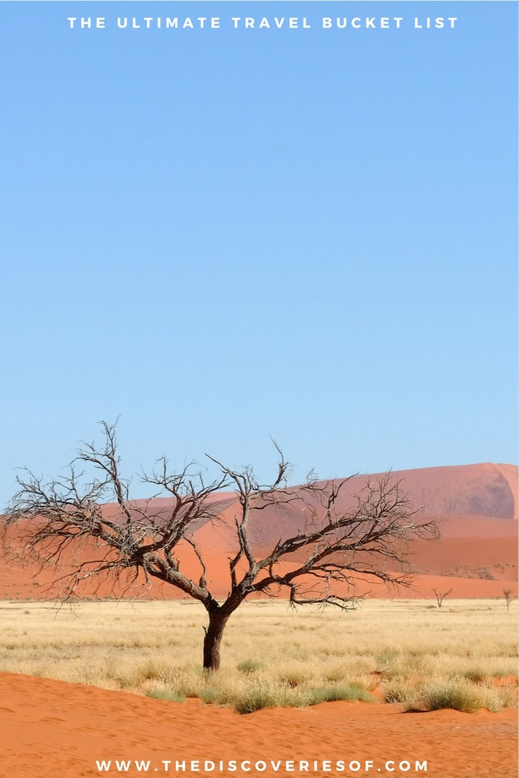Namib Desert, Namibia. 100 unique travel bucket list ideas - the ultimate list of things to do and places to see in your lifetime. Read the full guide now. See the world, embrace adventure, satisfy your wanderlust. United States I England I Australia I Canada I Travel Inspiration I Photos I Dreams I Ideas #travel #bucketlist #travelinspiration #wanderlust