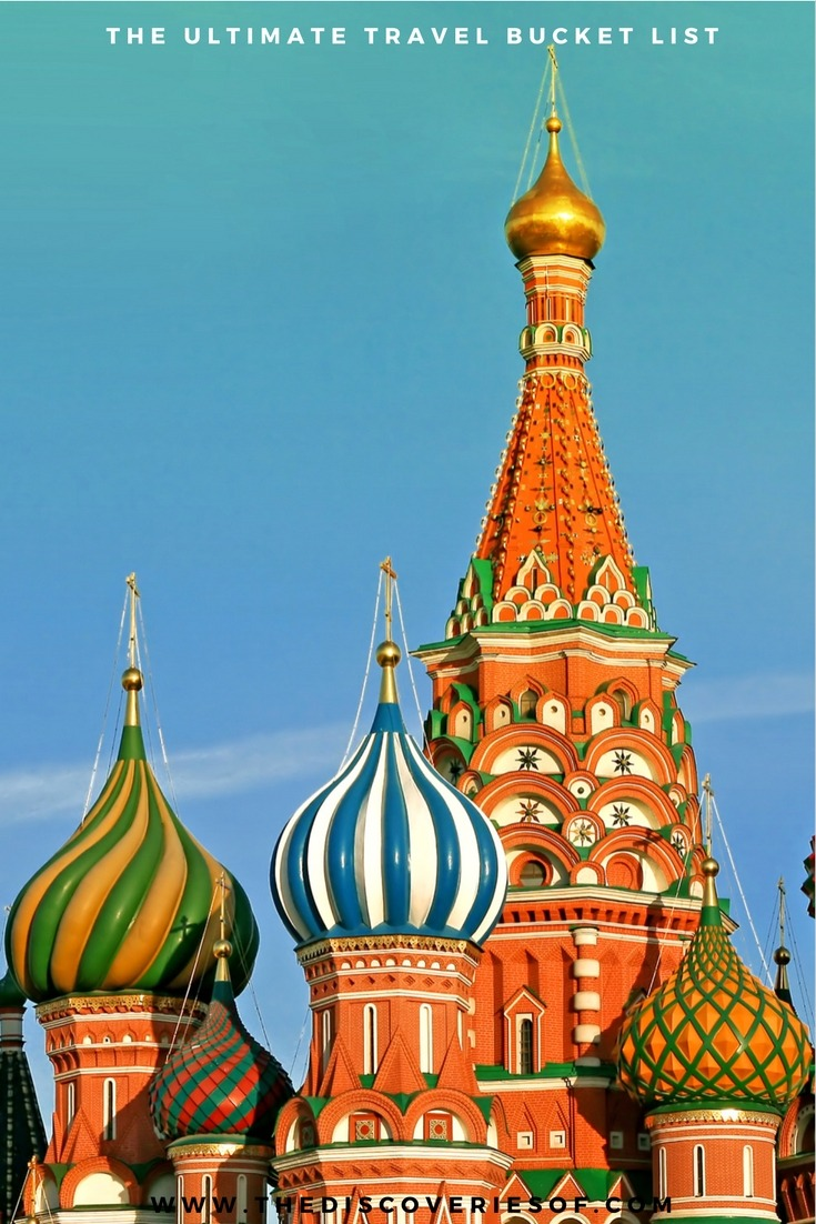 St Basil's - St Petersburg. 100 unique travel bucket list ideas - the ultimate list of things to do and places to see in your lifetime. Read the full guide now. See the world, embrace adventure, satisfy your wanderlust. United States I England I Australia I Canada I Travel Inspiration I Photos I Dreams I Ideas #travel #bucketlist #travelinspiration #wanderlust