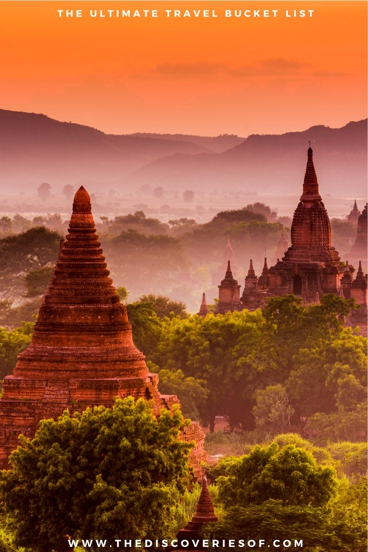 Bagan, Myanmar 100 unique travel bucket list ideas - the ultimate list of things to do and places to see in your lifetime. Read the full guide now. See the world, embrace adventure, satisfy your wanderlust. United States I England I Australia I Canada I Travel Inspiration I Photos I Dreams I Ideas #travel #bucketlist #travelinspiration #wanderlust
