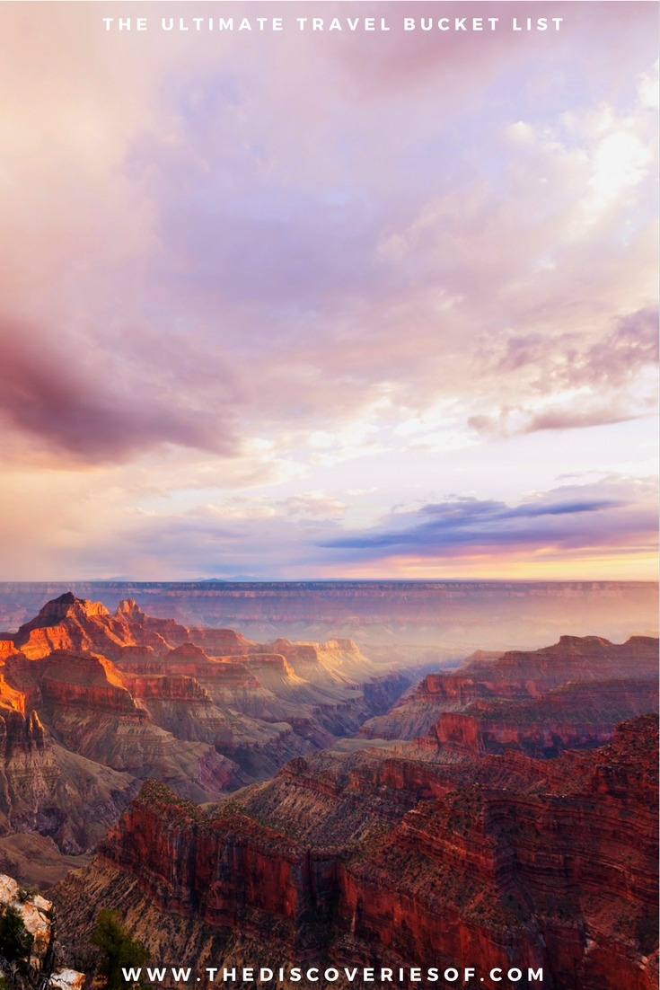 the Grand Canyon, USA. 100 unique travel bucket list ideas - the ultimate list of things to do and places to see in your lifetime. Read the full guide now. See the world, embrace adventure, satisfy your wanderlust. United States I England I Australia I Canada I Travel Inspiration I Photos I Dreams I Ideas #travel #bucketlist #travelinspiration #wanderlust