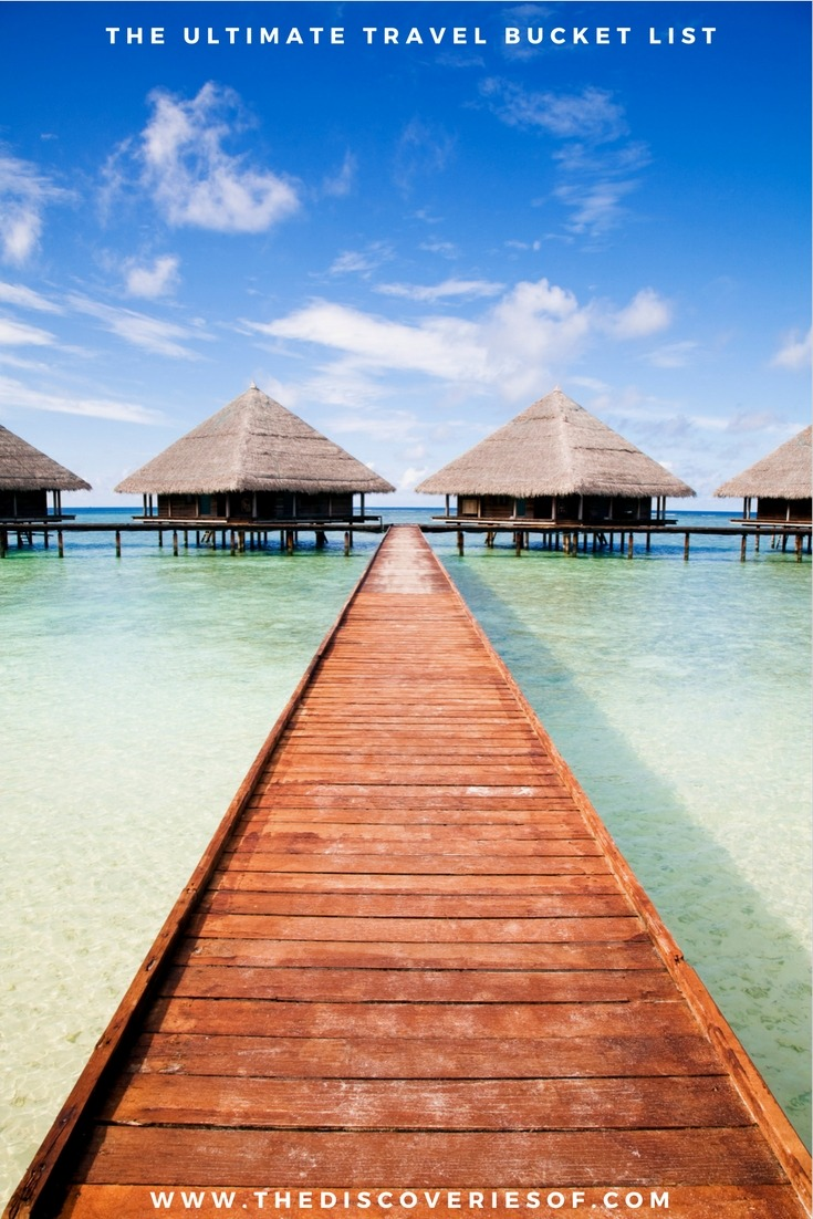 The Maldives. 100 unique travel bucket list ideas - the ultimate list of things to do and places to see in your lifetime. Read the full guide now. See the world, embrace adventure, satisfy your wanderlust. United States I England I Australia I Canada I Travel Inspiration I Photos I Dreams I Ideas #travel #bucketlist #travelinspiration #wanderlust