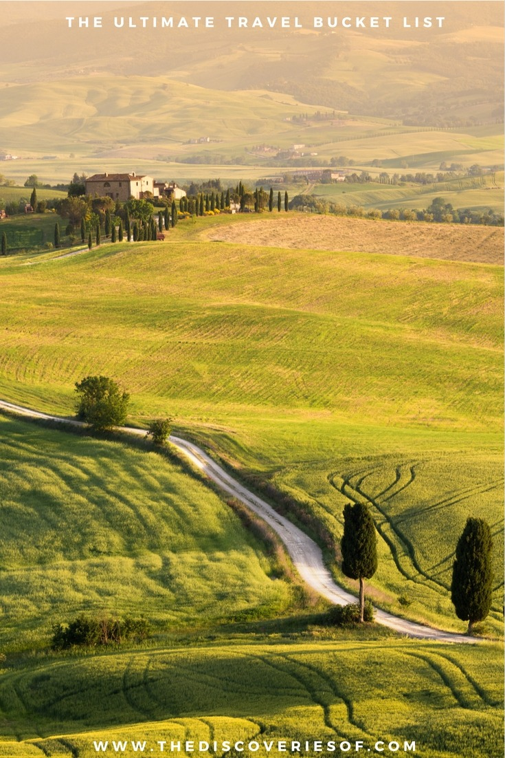 Tuscany, Italy. 100 unique travel bucket list ideas - the ultimate list of things to do and places to see in your lifetime. Read the full guide now. See the world, embrace adventure, satisfy your wanderlust. United States I England I Australia I Canada I Travel Inspiration I Photos I Dreams I Ideas #travel #bucketlist #travelinspiration #wanderlust