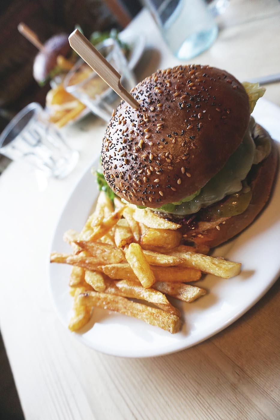Burger at The Refectory Kitchen Canterbury