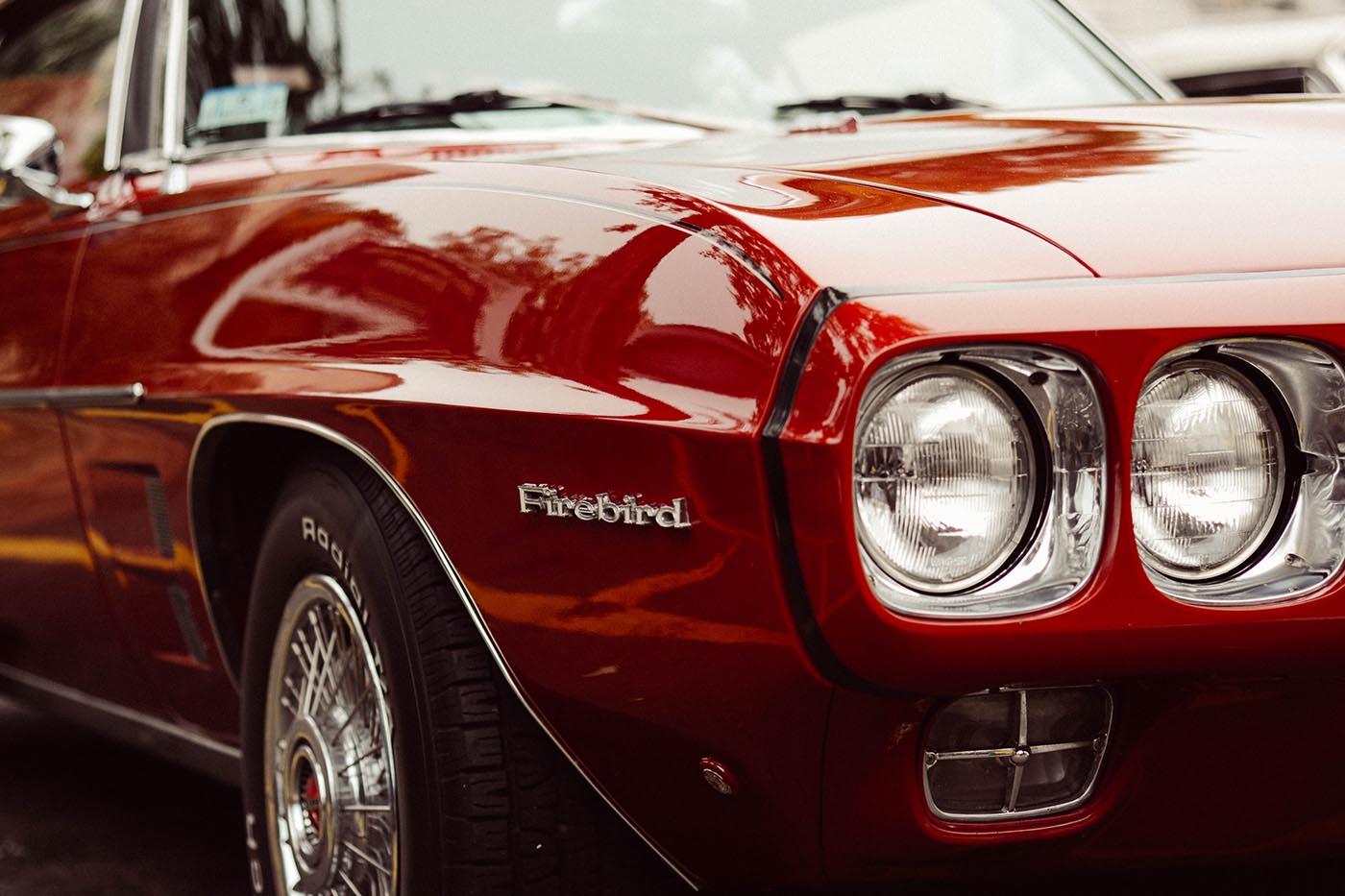 Close up of Firebird car