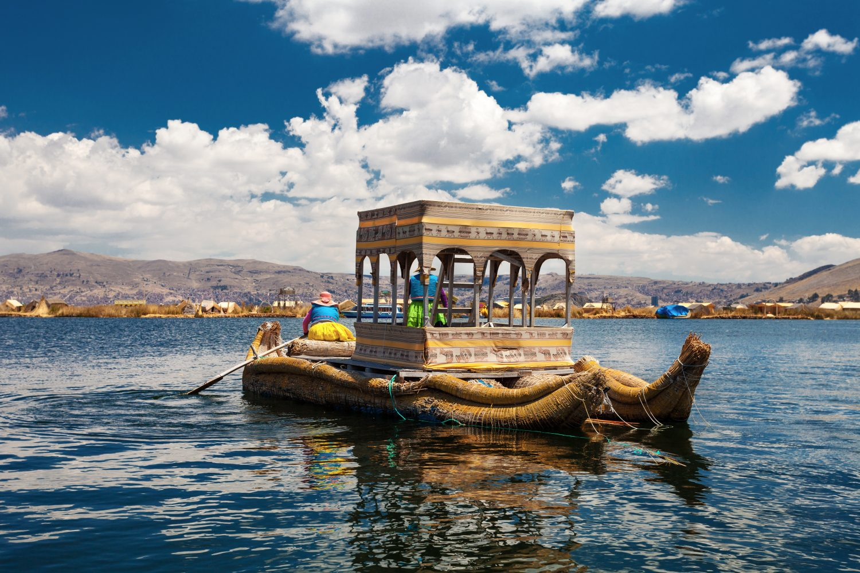 Traditional Peruvian Boat On Titicaca Lake