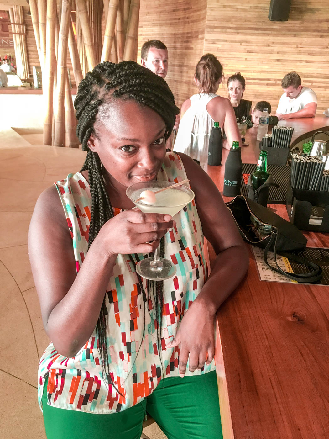Drinking cocktails at Finn's Beach Club Canggu