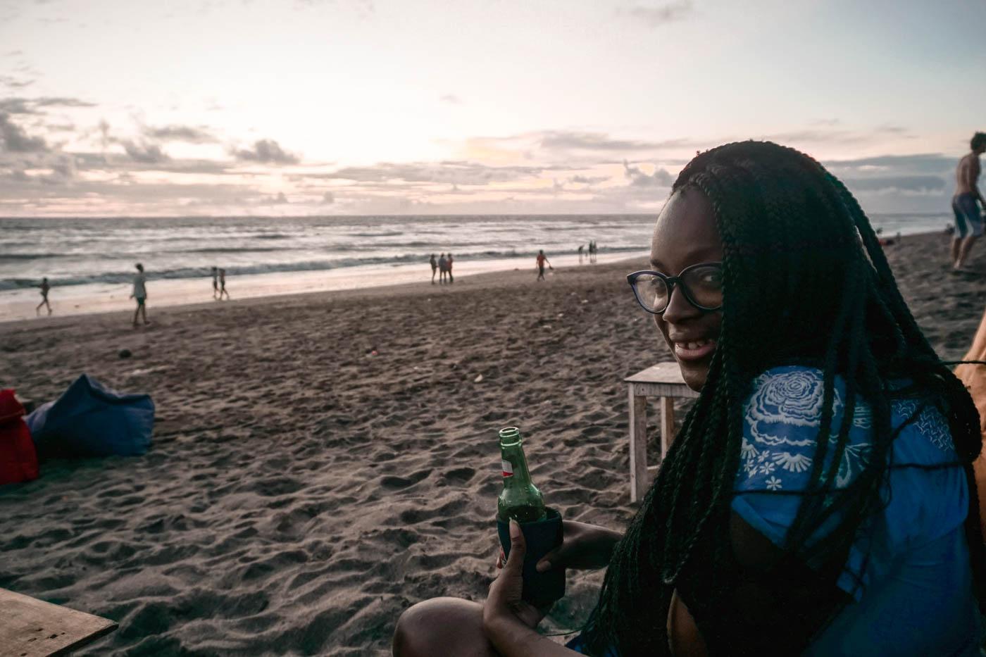 Julianna Barnaby on a beach in Canggu