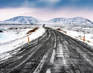 Iceland snowy landscape