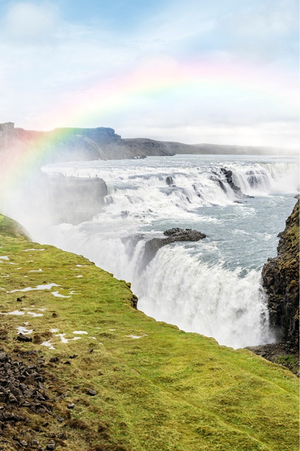 Gullfoss in the summer with a rainbow