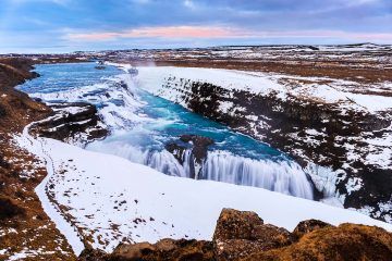 Gullfoss Waterfall Iceland in Winter
