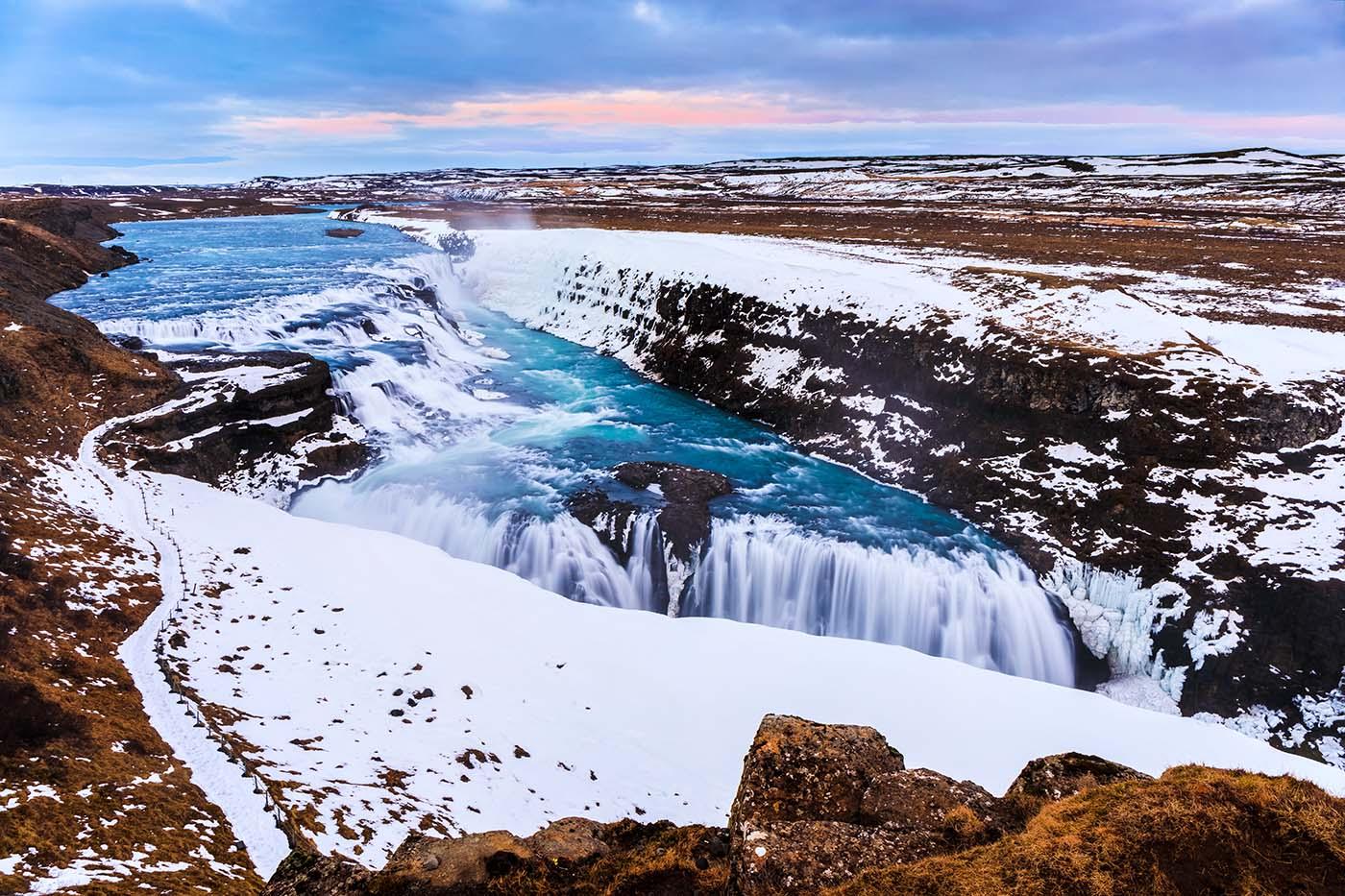Gullfoss Waterfall Iceland in Winter