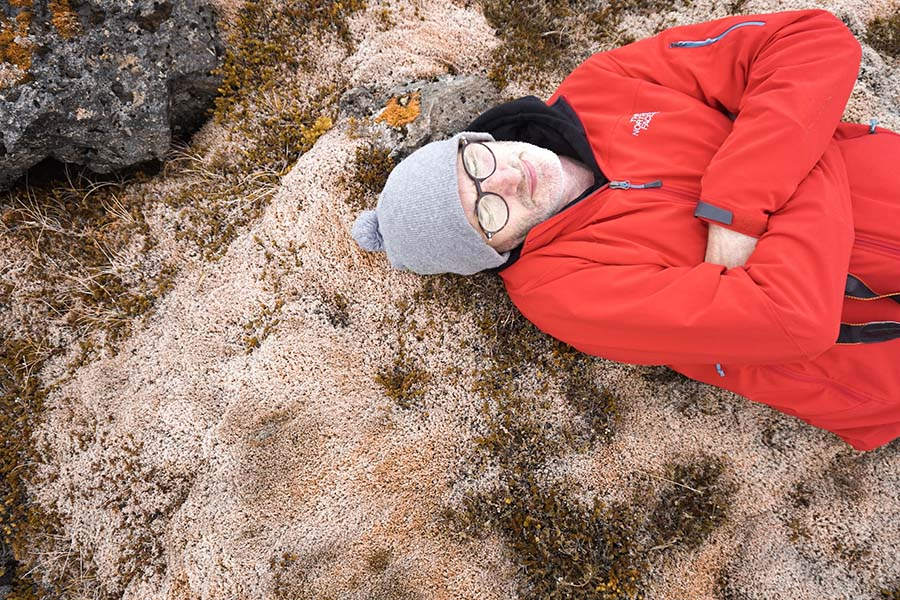 Lying on the moss in Iceland