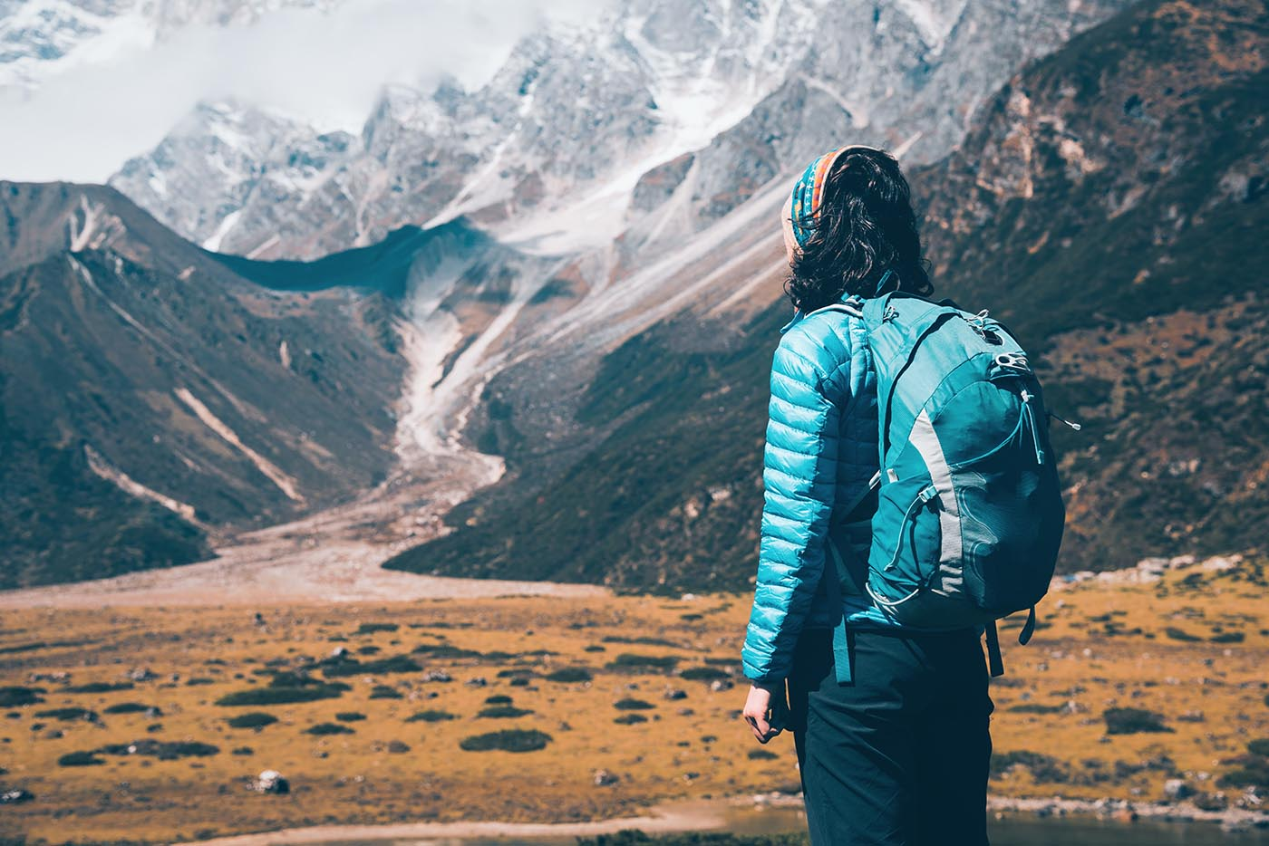 Woman with Backpacking Gear