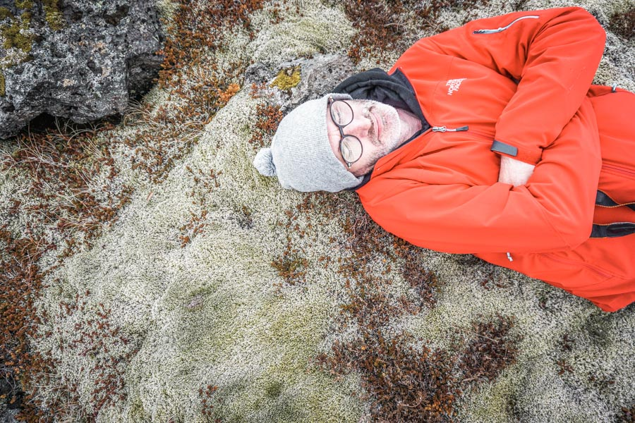 Getting cosy in the moss near Hekla