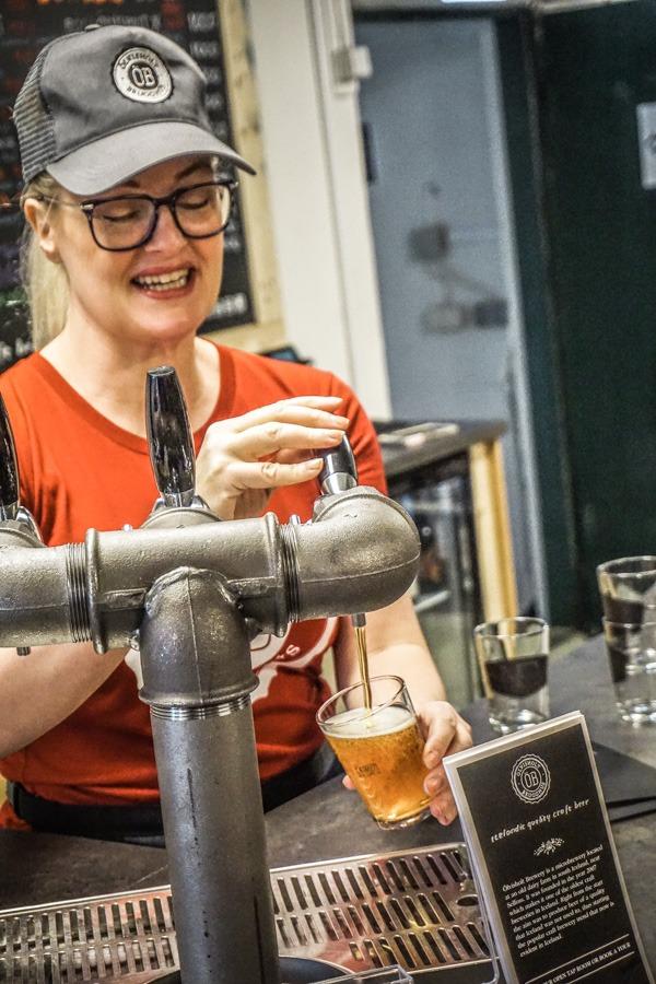 Berglind Snæland at Olvishot Brewery, Iceland
