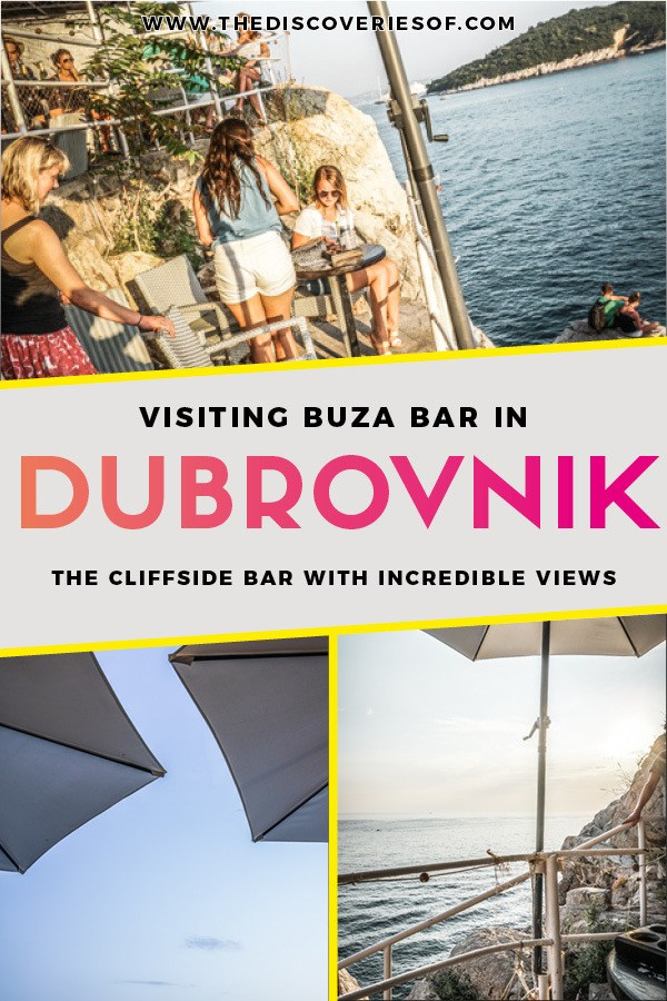 Buza Bar is one of Dubrovnik's coolest nightlife spots. This cliffside bar bosts beautiful views of the sea from a hidden spot in Dubrovnik Old Town. One of the top things to do in Dubrovnik! Read now #dubrovnik #travel #croatia