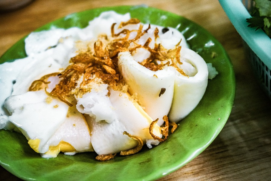 Egg and rice rolls. Vietnam food is fresh, vibrant and tasty. Don't miss this street food tour of Hanoi, complete with a map and stunning photography of the dishes you'll get to eat. Read now! #asia #southeastasia #food