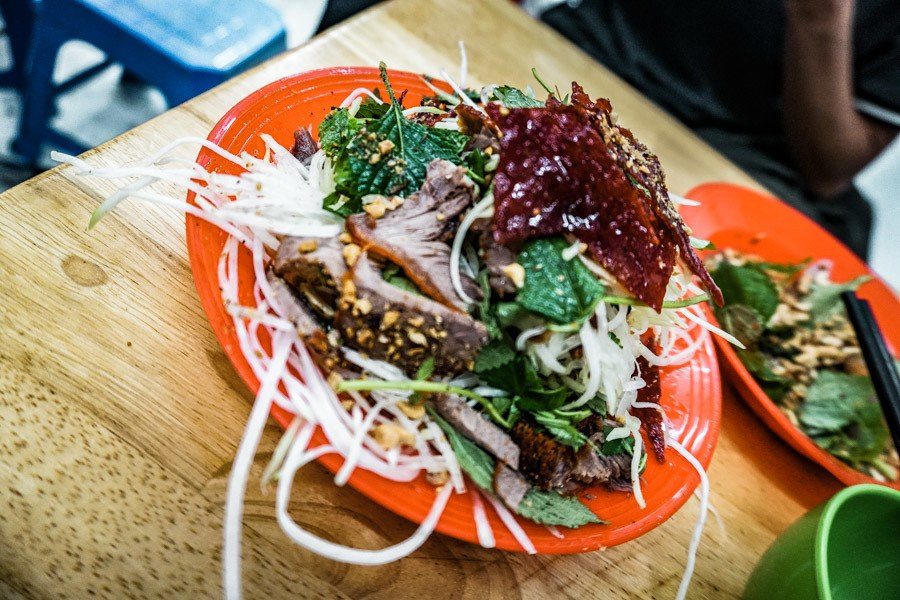 Cured beef salad.  The ultimate Hanoi street food tour guide. A step by step guide to exploring the tastiest Vienamese food in Hanoi - street food, photography and maps included. Check it out #streetfood #hanoi #travel
