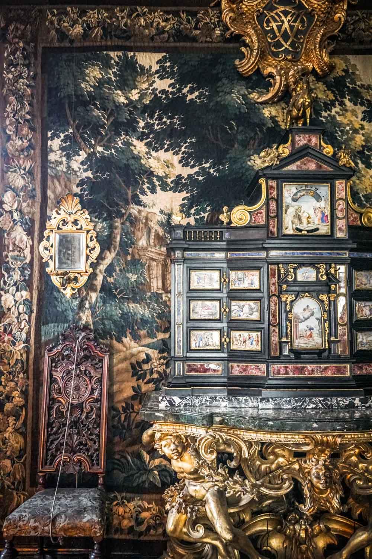 Dark and opulent decor in Rosenborg Castle Copenhagen