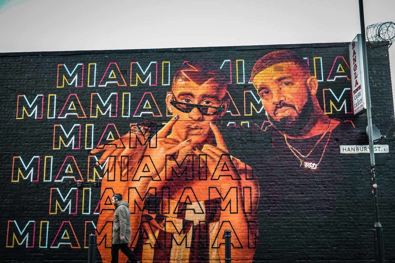 Drake in mural form in London