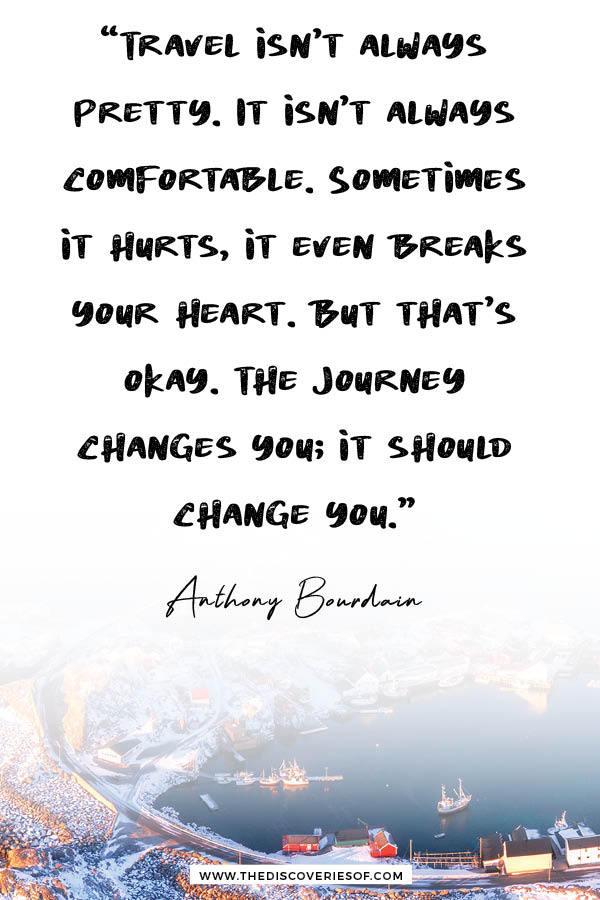 Travel isn't always pretty - Anthony Bourdain Travel Quote