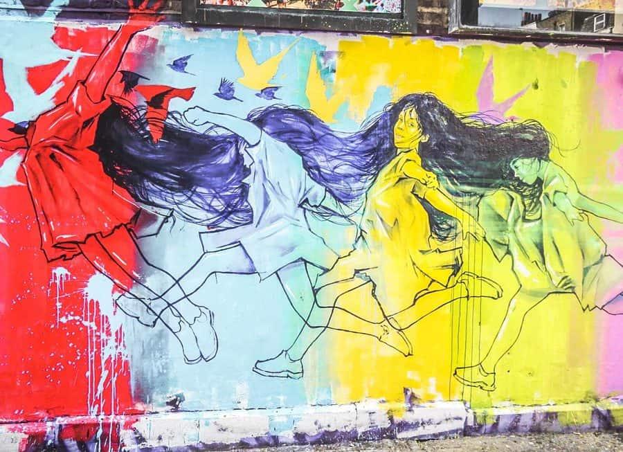 Street art in Hawley Mews, Camden