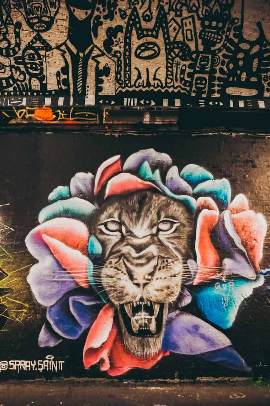 Cool street art in the Graffiti Tunnel London