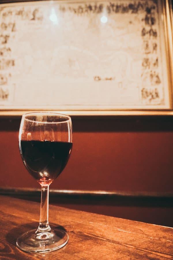 Wine at The Bleeding Heart Tavern