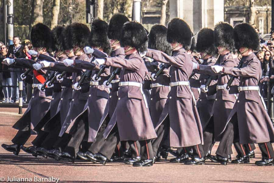 The guard marching in formation
