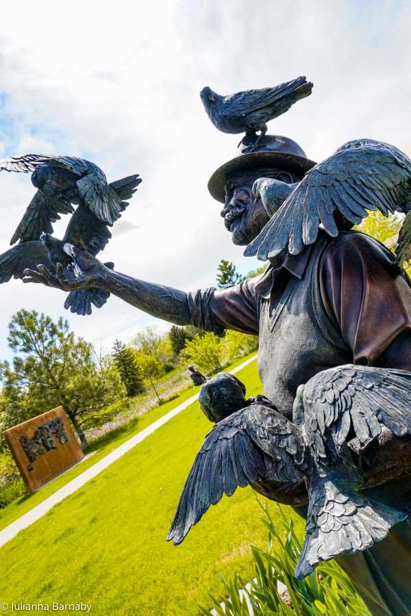 Man with pigeons Benson Sculpture Garden