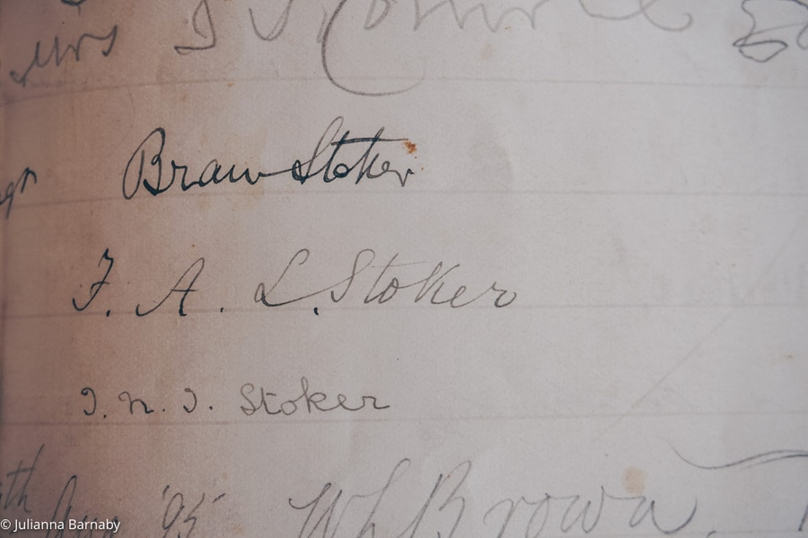 Bram Stoker's Signature in the Guest Book