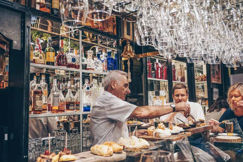 Inside a Pintxos bar in the Casco Viejo