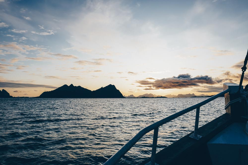 Fishing boat at sunrise Svolvaer