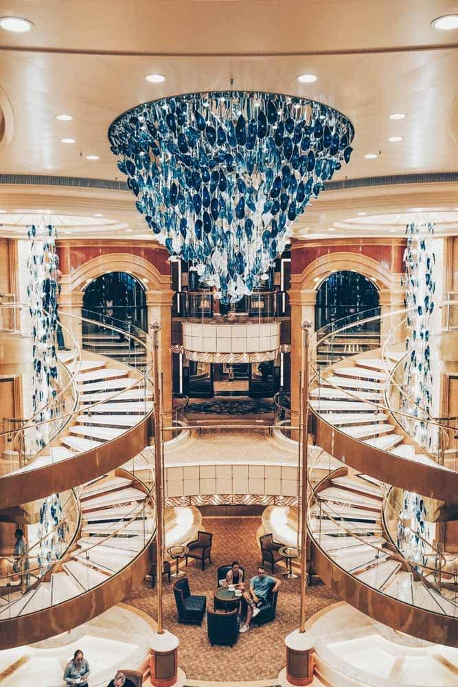 The central atrium on the Sky Princess